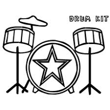 Drum Kit Girl Playing Flute Colouring Pages