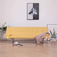 festnight schlafsofa mit zwei kissen polyester bettsofa schlafcouch sofabett mit bettfunktion wohnzimmer sofa hellgrau creme blau gelb