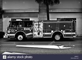 Truck Fire Engine Firetruck Black And White Stock Photos & Images ...