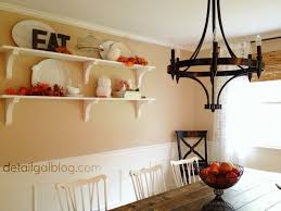 The Shelves Are Positioned Higher On Wall To Allow For A Buffet Below Them With Plenty Of Space Set Items Top It