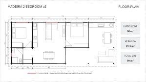 100 3 Bedroom Granny Flat MADEIRA V2 YZY Kit Homes