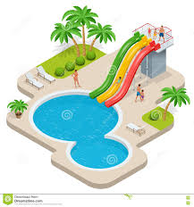 Summer Fun At Aqua Park Child With Parents On Water Slide
