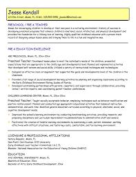 resume description of preschool preschool resume objective preschool resume