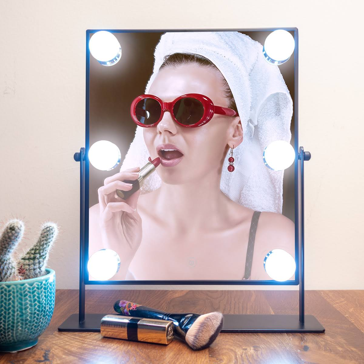 Danielle LED Hollywood Mirror- 6 Super Bright LED Lights, Black