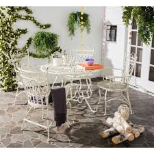 Details About Patio Table And Chairs Set 5 Wrought Iron Furniture White  Rustic Outdoor Dining
