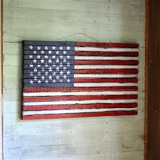 American Flag Wall Decor Rustic Wood Wooden