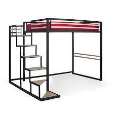 lit mezzanine 2 places noir avec sommier 140x200cm home