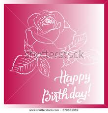 Happy Birthday lettering and rose are on purple background greeting card with fun white lettering