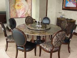 8 Chairs For Elegant Dining Room With Granite Round Table
