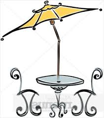 Patio Table And Chairs With Umbrella Charming Light Cafe Clipart