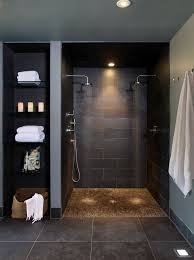 interior bathroom walk in shower designs decoration using black
