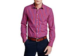 thomas pink evenson check slim fit button down shirt in purple for