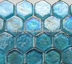 mh09 hexagonal tile floor blue glass mosaic for wall background