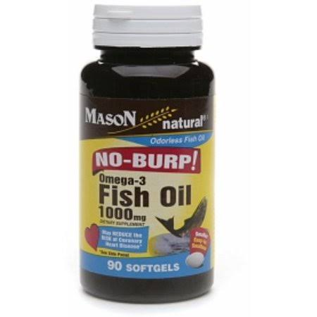 Mason Natural No Burp Omega 3 Fish Oil - 1000mg, 90 Count