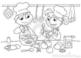 Mother And Child Cooking Clipart Black And White