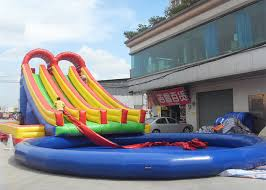 Plato PVC Giant Inflatable Water Slide With Big Swimming Pool Large Toys For Amusement
