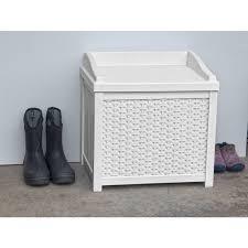 Suncast 50 Gallon Deck Boxstorage Bench by Suncast 22 Gallon White Resin Wicker Small Storage Seat Deck Box
