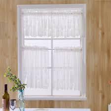 details zu fenstervorhang gardine kurzgardine fenster drapieren für badezimmer weiß