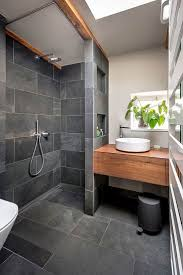 design ideas badezimmer schwarz grau schiefer holz
