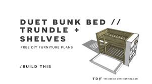Free Instructions For Bunk Beds by Free Diy Furniture Plans How To Build A Duet Bunk Bed Trundle