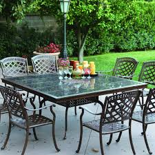 Square Patio Tablecloth With Umbrella Hole by Darlee Sedona 9 Piece Cast Aluminum Patio Dining Set With Square