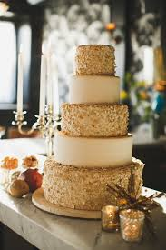 Modern Marie Antoinette Wedding Inspiration Cake With Sparkle Gold Accents