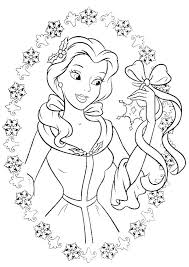 Princess Belle Love To Get Gifts In Christmas Day Coloring Pages