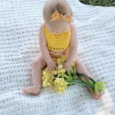 Yellow Crochet Boho Baby Halter Crop Top
