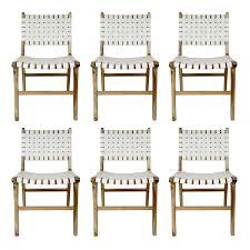 6er set esszimmerstuhl europa weiß aus leder und teakholz kaufen