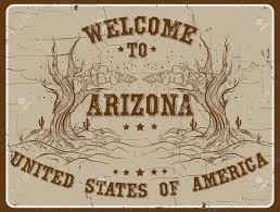 Welcome To Arizona Quote Typographical Background In Retro Western Style With Vintage Fonts Template