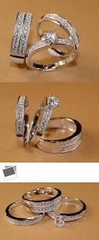 Diamonds and Gemstones Diamond Wedding 14K White Gold Trio