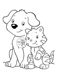 Cat And Dog Coloring Page For Kids Animal Pages In