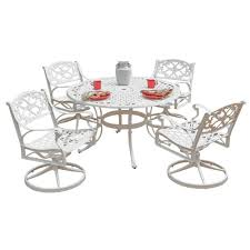 Home Styles Biscayne 48 In. White 5-Piece Round Swivel Patio Dining ... Home Styles Biscayne 48 In White 5piece Round Swivel Patio Ding Eero Saarinen Oval Table Chairs 5 Pieces Mid Shower Chair New Room Sets With Kitchen Multi Cooker Steamer Wall Decorating Ideas Bar Set Wswivel Polywood Dutch Haus Custom Hanover Traditions Alinum 7 Piece Rectangular High Modern 3in1 Game Bumper Pool Poker Top 5pc Powell Fniture Wayfair With Waste Basket Outdoor Gas Awesome Bassett Glass Top On 3 Bistro Stool Indoor Amazoncom 5601325 And Two