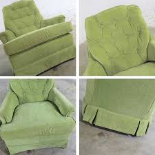 Chartreuse Green Velvet Swivel Rocking Lounge Chairs With ...