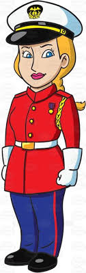A Female Us Marine Corps Soldier In Her Utility Uniform Cartoon