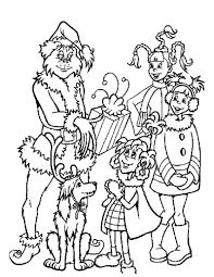 Grinch Gives Out Christmas Gifts Coloring Page