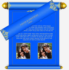 Royal Blue And Gold Scroll Style Modern Email Wedding Invitation