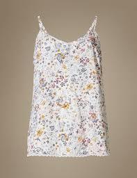 floral print strappy camisole pyjama top m u0026s