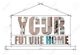 100 Modern House Blueprint Your Future Home Slogan In Stock Photo