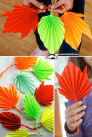 Folded Paper Fall Leaves Craft