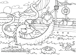 Monster Coloring Page Sea Free Sheets High Pets Pictures To Print House Color Full Size