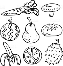 Fruit ve able collection in Black and White royalty free fruit ve able collection in black and
