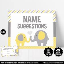 Baby Name Suggestions Game Baby Name Cards Yellow Elephant Etsy