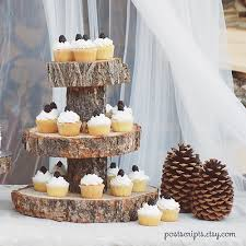 Rustic Wood Tree Slice 3 Tier Cake And Cupcake Stand For Your Wedding Event Or Party