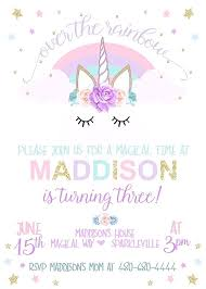Unicorn Invitation Template Free Printable Party Uni On Invites Word Editable Tea