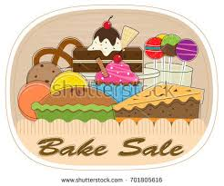 Bake Sale Clip art of assorted pastries with bake sale text at the bottom