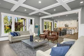 Transitional Formal And Open Concept Dark Wood Floor Living Room Photo In Seattle With Gray Walls
