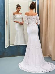 stunning off the shoulder 3 4 length sleeves mermaid wedding dress