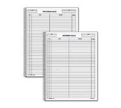 Rediform IncomingOutgoing Call Register Book 100 Sheets Wire Bound 8 12 X 11 Sheet Size White Blue Print Color Recycled 1 Each By Office Depot