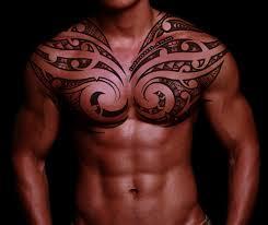 Body Chest Art Tribal Cross Tattoo For Guys